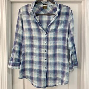 Anthropologie Fei Plaid Fitted Button Down Shirt